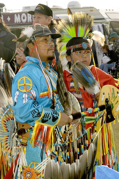 Calvin and Brad Haskan, Las Vegas Intertrbibal Veterans Pow Wow, 2006,  © Mickey Cox 2006