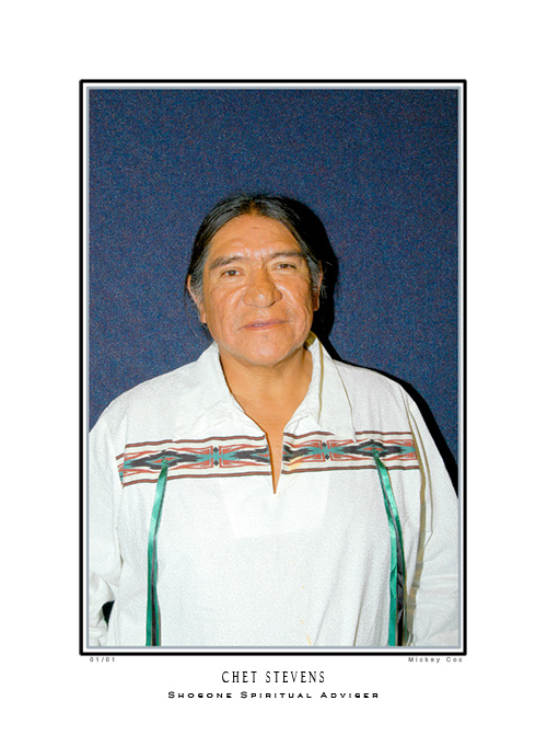 Chet Stevens, Shoshone Spiritual Advisor, Las Vegas 2008<br />Speaking at the 2nd Annual Intertribal Earth Gathering, Las Vegas, Nevada, 2008, &copy; Mickey Cox 2008