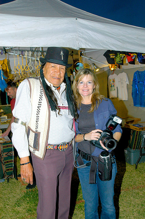 Deanne Fitzmaurice, Pulitzer Prize Photographer with Saginaw Grant at the Ninth Annual Pahrump Pow Wow, 2007<br />Pahrump, Nevada, 2007, &copy; Mickey Cox 2007