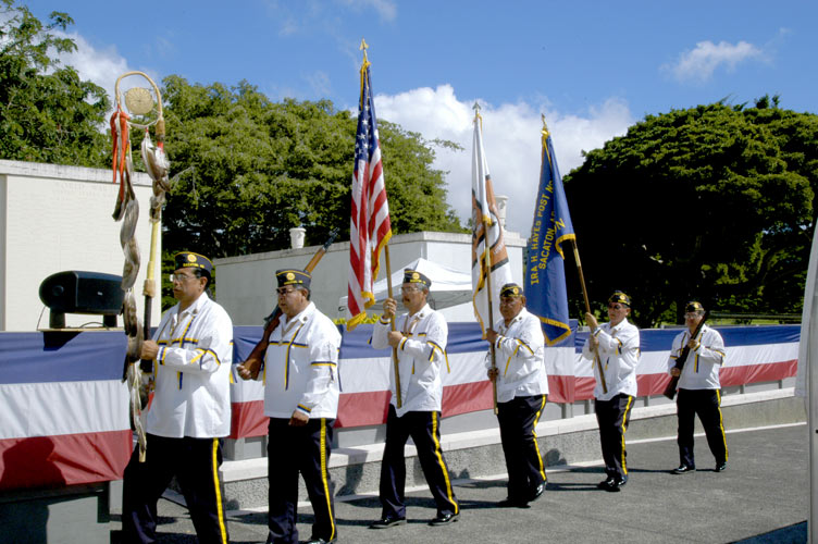The Ira H. Hayes Veteran's Honor Guard, Sacaton, Arizona at The Veteran's Memorial Cemetery of The Pacific, O'ahu, Hawaii, December 6, 2006 ~ ©  Mickey Cox, 2006