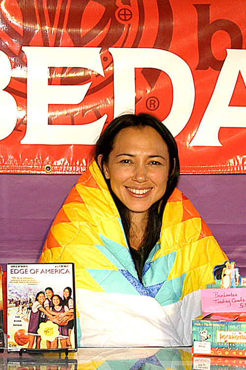 Irene Bedard, Actress, Voice and Model for Pocahontas, 25 film credits, including, Into The West, receiving a blanket presentation at the 3rd Annual Las Vegas Intertribal Veteran's Pow Wow, 2006, Las Vegas, Nevada, © Mickey Cox 2006