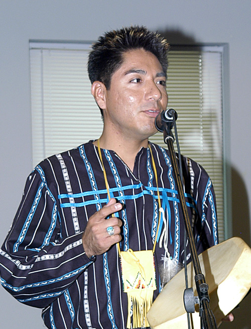 Kyle Ethelbah, Director of Adult Education, University of Nevada, Las Vegas<br />Speaking at the 1st Annual Indigenous Peoples Gathering, Las Vegas, Nevada, 2007, &copy; Mickey Cox 2006