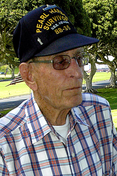 Ted Kuykendall, USN Retired, assigned U.S.S. NEVADA, December 7, 1941, 3rd Class Electricians Mate, Pearl Harbor, O'ahu, Hawaii -  © Mickey Cox 2006