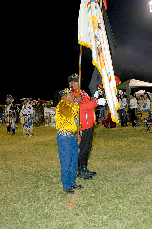 Yodel Billah, Navajo Code Talker, World War Two, carrying the Code Talkers Flag, Las Vegas Veteran's InterTribal Pow Wow 2007 - &copy 2007 Mickey Cox